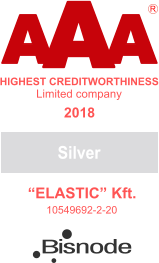 "A A A HIGHEST CREDITWORTHINESS ""ELASTIC"" Kft. 10549692-2-20 R Limited company Silver 2018 Bisnode"